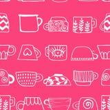 Безшовная картина с вычерченными чашками чаю и кофе Пить зимы иллюстрация штока