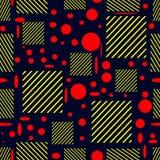 Безшовная картина с изображением красных и желтых геометрических форм стоковые изображения rf