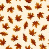 Безшовная картина с листьями осени на желтой предпосылке, для любого случая иллюстрация штока