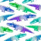 Безшовная картина с милыми крокодилами иллюстрация вектора