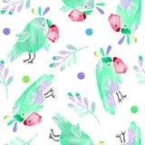 Безшовная картина с милыми попугаями и листьями иллюстрация вектора