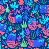 Безшовная картина с милыми русалками котов в подводном мире иллюстрация вектора