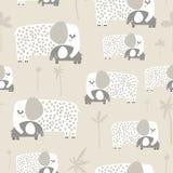 Безшовная картина с милым слоном мамы и младенца Творческая ребяческая текстура Большой для ткани, иллюстрации вектора ткани иллюстрация вектора