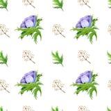 Безшовная картина с пурпуром акварели белым подняла цветки Дизайн весны флористический для приглашения свадьбы бесплатная иллюстрация