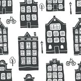 Безшовная картина с домами плана скандинавскими иллюстрация штока