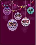 Безшовная картина с черепами сахара на фиолетовой предпосылке Мексиканский праздник бесплатная иллюстрация