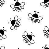 Безшовная картина с черными милыми пчелами также вектор иллюстрации притяжки corel иллюстрация вектора