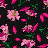 Безшовная картина розовых лилий иллюстрация вектора