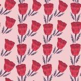 Безшовная картина от красных маков на розовой предпосылке стоковая фотография