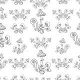 Безшовная предпосылка, грибы, круги, расцветка, графические элементы иллюстрация вектора