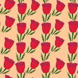 Безшовный цветочный узор маков на бежевой предпосылке с листьями стоковое изображение