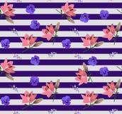 Безшовный striped цветочный узор с маленькими цветками колокола, большими розовыми лилиями и голубыми фиолетами в векторе Печать  иллюстрация штока