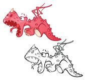 Illustration of a Cute Red Dragon. Cartoon Character. Outline Draving stock illustration