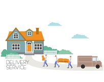Vector cartoon style illustration porters carry sofa and boxes. Moving to a new house.Transport company. Goods delivery. Porters carry sofa and boxes. Moving to royalty free illustration