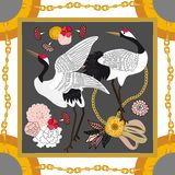 Silk scarf with crane inspired by Japanese art. vector illustration