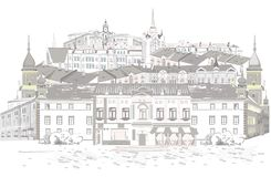 Series of street views in the old city. Hand drawn vector architectural background with historic buildings royalty free illustration