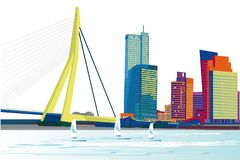 Series of modern city views with skyscrapers and shopping centers. Hand drawn vector illustration royalty free illustration