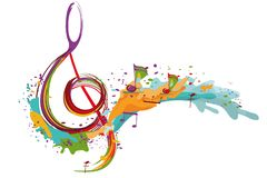 Abstract musical design with a treble clef and colorful splashes and waves. royalty free illustration