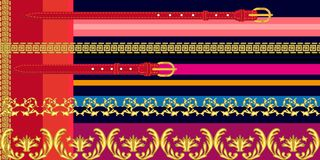 Colorful border with baroque motifs. royalty free illustration