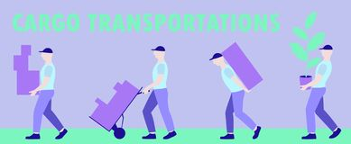 Horizontal banner group of movers carrying boxes, moving a new house, moving office, courier delivery. Vector horizontal banner group of movers carrying boxes royalty free illustration