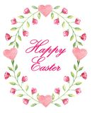 Postcard with text `Happy Easter` in frame like egg with beautiful little flowers in watercolor style royalty free illustration