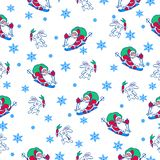 Seamless pattern with Christmas motif. Vector seamless pattern with Christmas motif, Santa Claus on skis and gifts and a hare with a carrot vector illustration