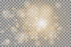 Белый накалять светл взрывает на прозрачной предпосылке Сверкная волшебные частицки пыли яркая звезда иллюстрация вектора