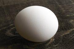 Белое яйцо цыпленка кладет на коричневый деревянный стол стоковая фотография