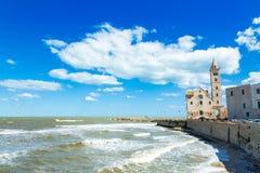 Береговая линия и кафедра в городе Trani, провинции Бари, регионе Апулии, Италии стоковые изображения rf