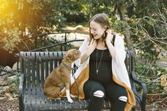 Беременные улыбки владельца собаки на ее небольшой собаке на улыбке скамейки в парке счастливой стоковое изображение rf