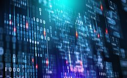 бинарный Код Облако данных Защита в сети Поток цифровых данных иллюстрация штока