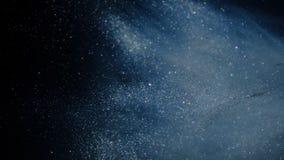 Блестящая голубая предпосылка частицы Пыль вселенной голубая с звездами на черной предпосылке Конспект движения частиц иллюстрация вектора
