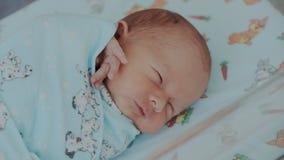 Близкая поднимающая вверх съемка newborn будить Милый маленький младенец рука зевает, двигать и касается стороне Ребенок проспал  сток-видео