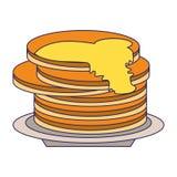 Блинчики с медом на блюде бесплатная иллюстрация