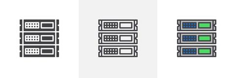 Блок шкафа, значок серверов иллюстрация штока