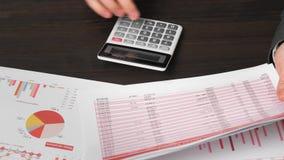 Бухгалтер бизнесмена используя калькулятор для высчитывать финансы на офисе стола Отчеты о концепции финансового учета дела красн сток-видео