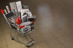 Бытовые приборы в корзине Электронная коммерция или он-лайн принципиальная схема покупкы иллюстрация вектора