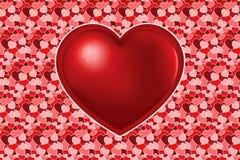 Большое красное сердце на текстуре много varicoloured сердец иллюстрация штока