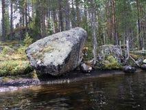 Большой валун на береге озера стоковое фото rf