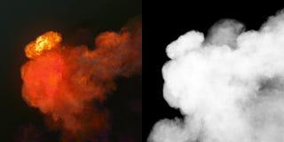 Большой взрыв с черным дымом в темноте плюс канал альфы перевод 3d стоковые фотографии rf