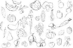 Большой набор фруктов и овощей черных на белой предпосылке иллюстрация вектора