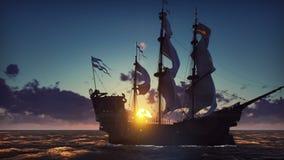 Большой средневековый корабль на море на восходе солнца Старый средневековый корабль грациозно плавает в открытом море Закрепленн