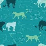 Ботаническая картина леопарда джунглей, тропическое безшовное, для ткани моды и всех печатей на предпосылке teal в векторе иллюстрация вектора