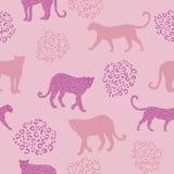 Ботаническая розовая картина леопарда джунглей, тропическое безшовное, для ткани моды и всех печатей на предпосылке teal в вектор иллюстрация штока