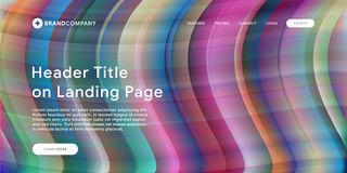 Вебсайт или мобильная страница посадки приложения с иллюстрацией дизайна и градиента предпосылки картины конспекта красочных мини стоковые изображения rf
