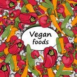вегетарианская еда, естественные овощи иллюстрация вектора