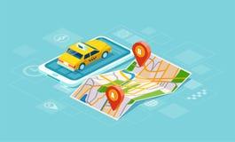 Вектор желтой кабины и трасса GPS указывают штыри на smartphone иллюстрация штока