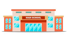 Вектор здания средней школы классицистическо Изолированная плоская иллюстрация шаржа иллюстрация вектора