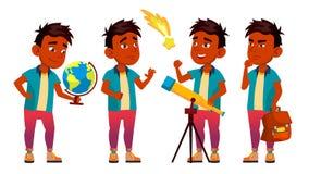 Вектор индийского школьника мальчика установленный Начальной школы astrix Откройте планету Деятельность при студента educate малы иллюстрация вектора
