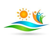 Вектор дизайна значка символа концепции шлюпки торжества здоровья соединения работы команды людей волны воды пляжа Солнца на бело иллюстрация вектора